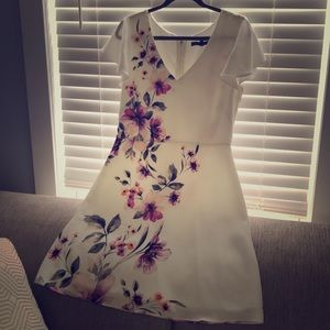 White Dress w/ Floral Pattern